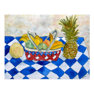 still life fruit basket art postcard
