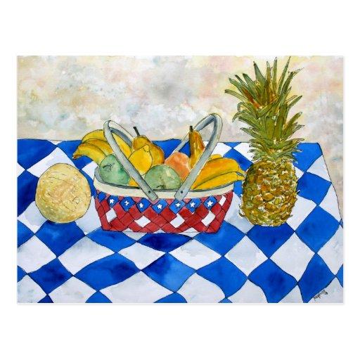 still life fruit basket art postcard