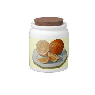 Still life fruit oranges realist art cookie jar candy dish
