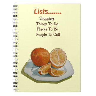 Still life fruit segments orange original art notebook
