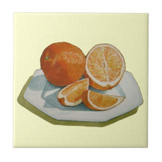 Still life fruit sliced orange realist art tile