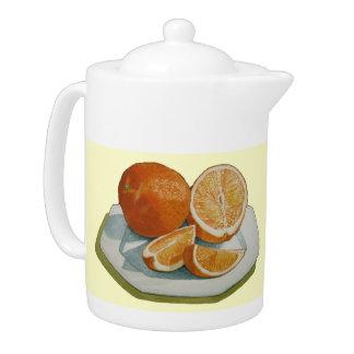 Still life fruit sliced oranges realist art t-pot