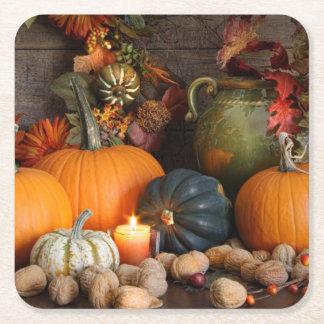 Still Life Harvest  Decoration For Thanksgiving Square Paper Coaster