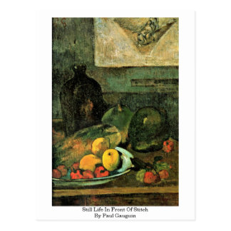 Still Life In Front Of Stitch By Paul Gauguin Postcard