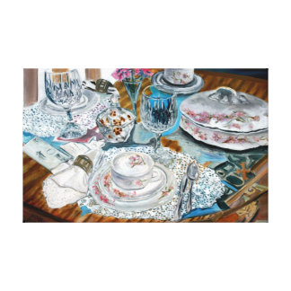 still life lace crystal kitchen oil painting canvas print