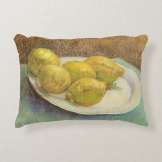 Still Life Lemons on a Plate by Vincent van Gogh Accent Pillow