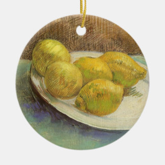 Still Life Lemons on a Plate by Vincent van Gogh Ceramic Ornament
