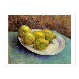 Still Life, Lemons on Plate, Van Gogh Fine Art Postcard