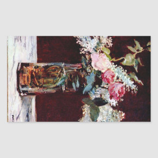 Still life, lilac and roses by Edouard Manet Rectangular Sticker