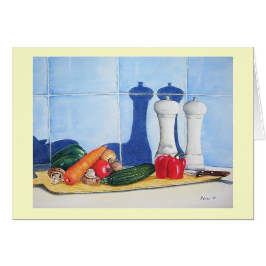 still life mixed vegatable painting blank art card