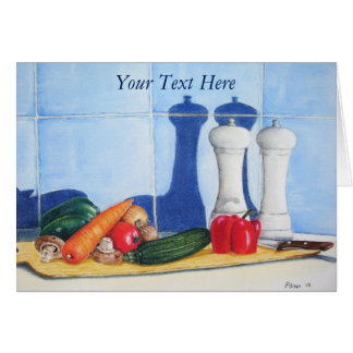 still life mixed vegetable prep painting original card