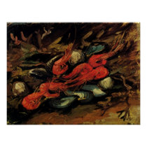 Still Life Mussels and Shrimp by Vincent van Gogh Poster