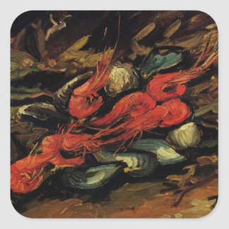 Still Life Mussels and Shrimp by Vincent van Gogh Square Sticker
