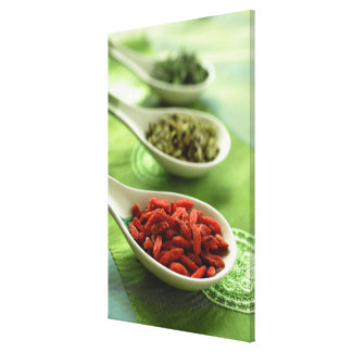 Still life of 3 Chinese soup spoons with spices Canvas Print