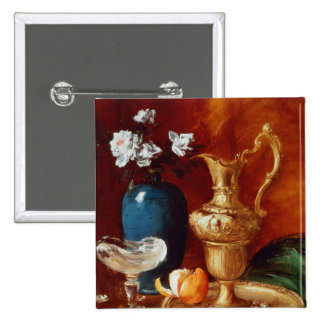 Still life of a gilt ewer, vase of flowers 2 inch square button