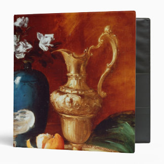 Still life of a gilt ewer, vase of flowers 3 ring binders