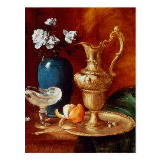 Still life of a gilt ewer, vase of flowers postcard