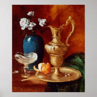 Still life of a gilt ewer, vase of flowers poster