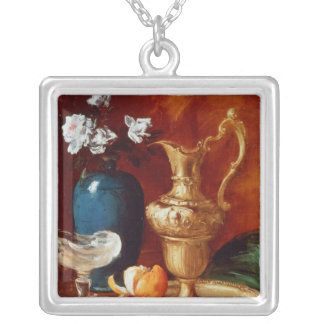 Still life of a gilt ewer, vase of flowers silver plated necklace