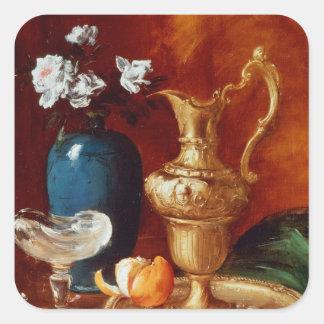 Still life of a gilt ewer, vase of flowers square sticker