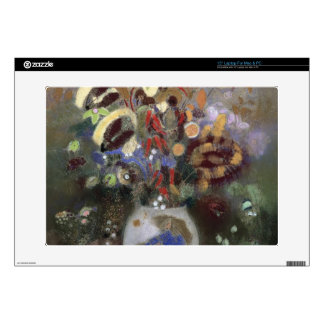 """Still Life of a Vase of Flowers (pastel on paper) 15"""" Laptop Decal"""