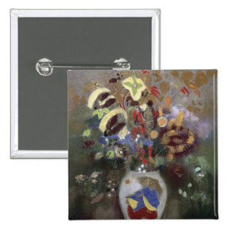 Still Life of a Vase of Flowers (pastel on paper) 2 Inch Square Button