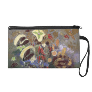 Still Life of a Vase of Flowers (pastel on paper) Wristlet Clutches