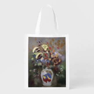 Still Life of a Vase of Flowers (pastel on paper) Grocery Bags