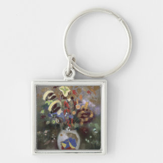 Still Life of a Vase of Flowers (pastel on paper) Keychain