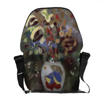Still Life of a Vase of Flowers (pastel on paper) Messenger Bag