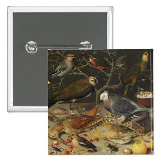 Still Life of Birds and Insects, 1637 2 Inch Square Button