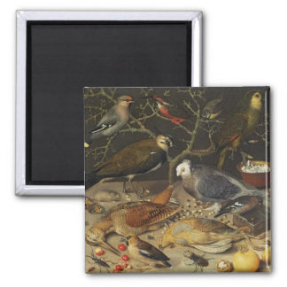 Still Life of Birds and Insects, 1637 2 Inch Square Magnet