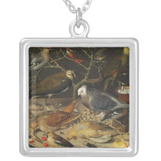 Still Life of Birds and Insects, 1637 Silver Plated Necklace