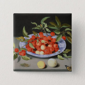 Still Life of Cherries and Peaches Button
