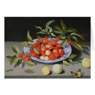 Still Life of Cherries and Peaches Greeting Card