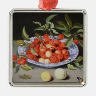 Still Life of Cherries and Peaches Metal Ornament