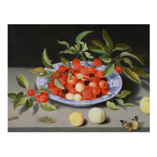 Still Life of Cherries and Peaches Postcard
