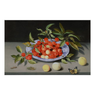 Still Life of Cherries and Peaches Poster