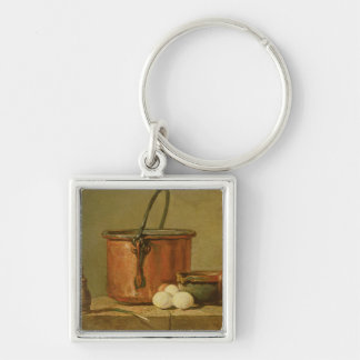 Still Life of Cooking Utensils, Cauldron Silver-Colored Square Keychain