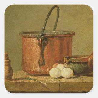 Still Life of Cooking Utensils, Cauldron Square Sticker