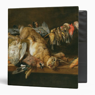 Still life of dead birds and a hare on a table binder