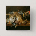 Still life of dead birds and a hare on a table pinback button