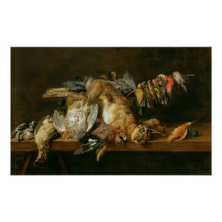Still life of dead birds and a hare on a table poster