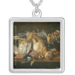 Still life of dead birds and a hare on a table silver plated necklace