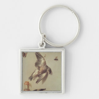 Still Life of Dead Birds and a Mouse, 1712 Silver-Colored Square Keychain