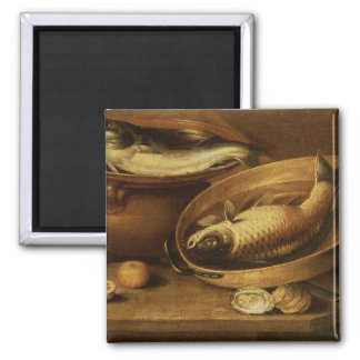Still Life of Fish and Lemons 2 Inch Square Magnet