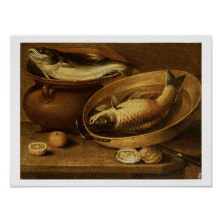 Still Life of Fish and Lemons Posters