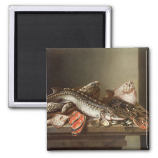 Still Life of Fish on a Table 2 Inch Square Magnet
