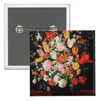 Still life of flowers, 1610s 2 inch square button