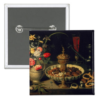 Still Life of Flowers and Dried Fruit, 1611 2 Inch Square Button